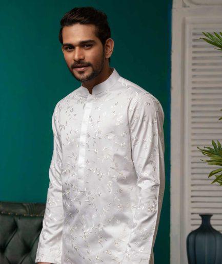 Premium White Embroidered Panjabi