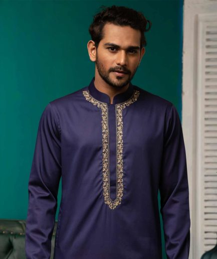 Premium Navy Blue Panajbi with embroidered collar