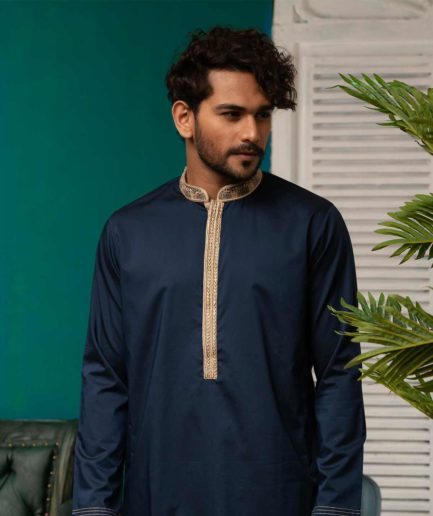 Premium Navy Blue panjabi with zardosi and embroidered collar