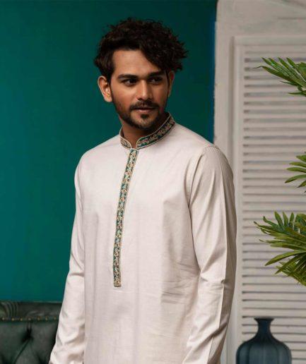 Premium White Panjabi with Zardosi blue collar