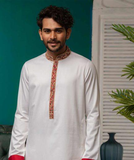 Premium White Panajabi with Zardosi Red collar