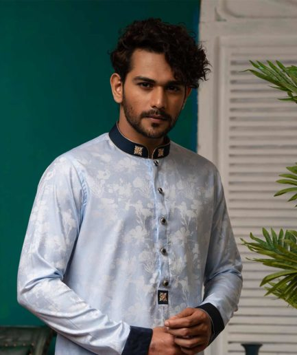 Premium Light Blue Printed Panjabi with Zardosi Collar