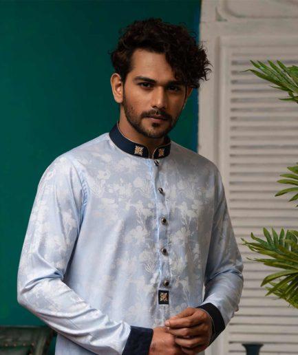 Premium Light Blue Printed Panjabi with Zardosi Collar