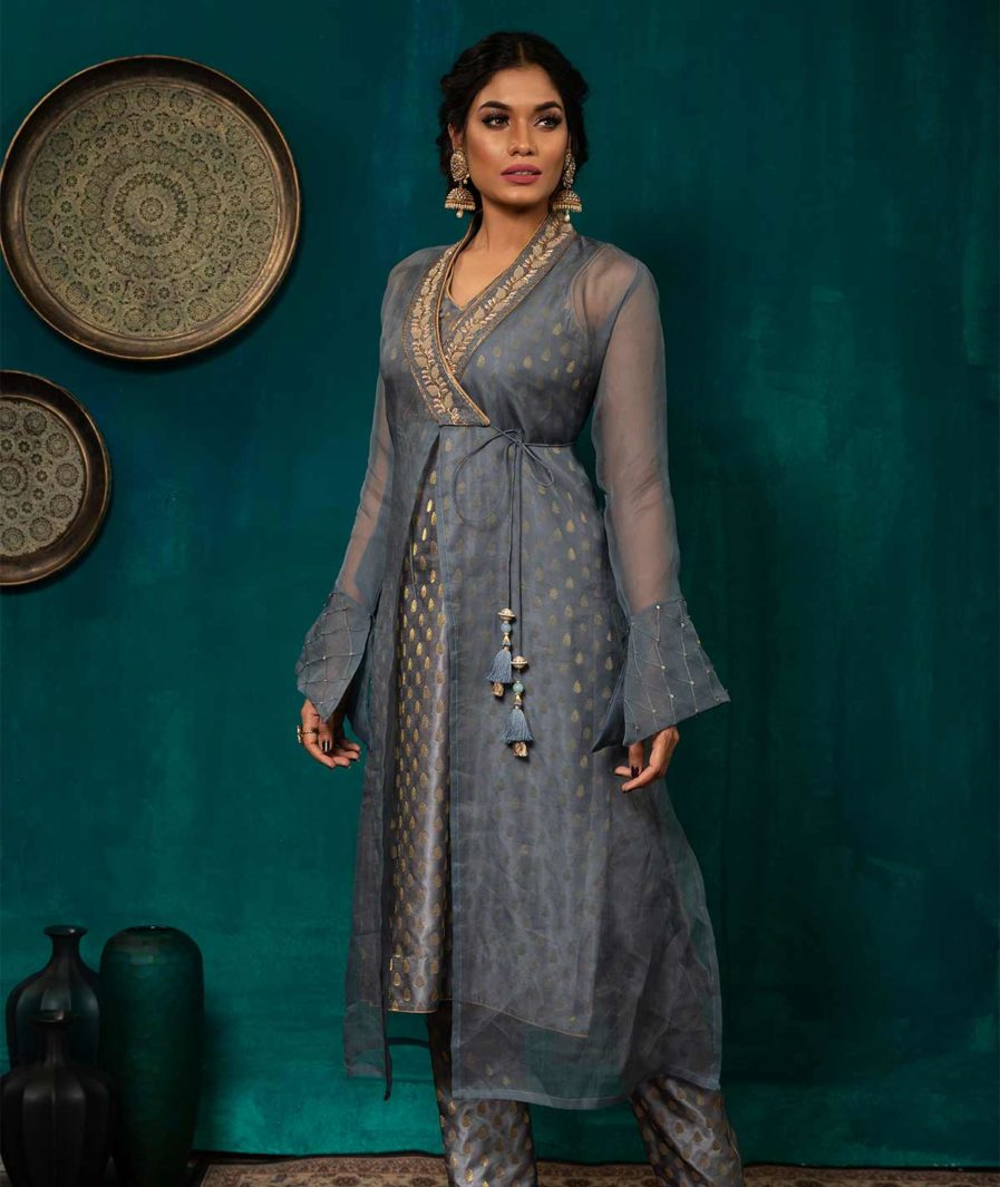 Designer Katan Kameez with Zardosi detailing -Grey