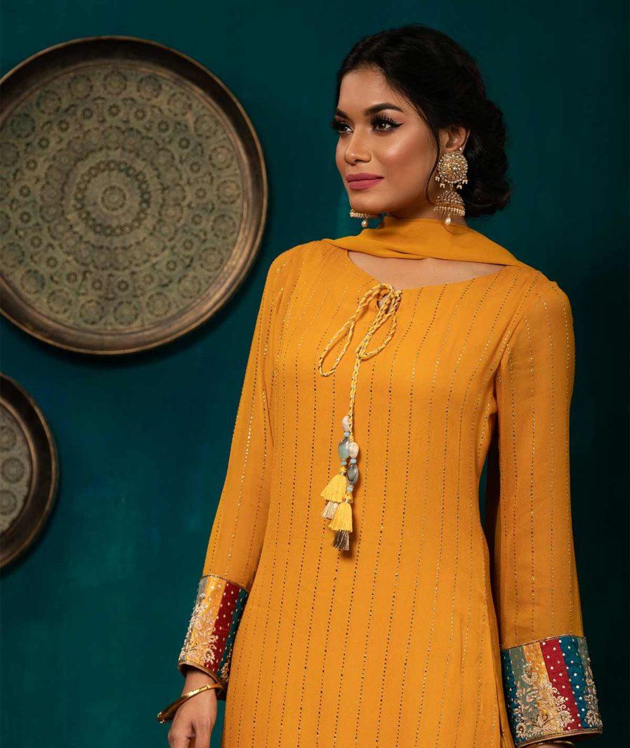Designer Georgette Kameez with Zardosi detailing - Mustard Yellow