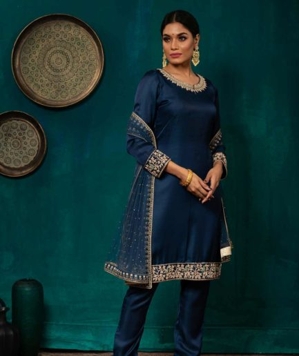Premium Royal harbor blue Kameez with zardosi detailing
