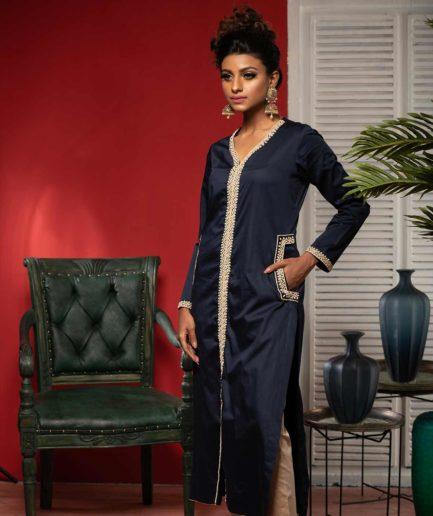 Premium Women's Panjabi with zardosi detailing - Navy Blue