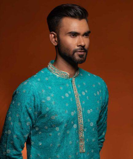 Premium Muslin Panjabi - Exotic Blue