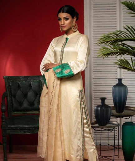 Premium Cream rawsilk kameez with zardosi in emerald green borders