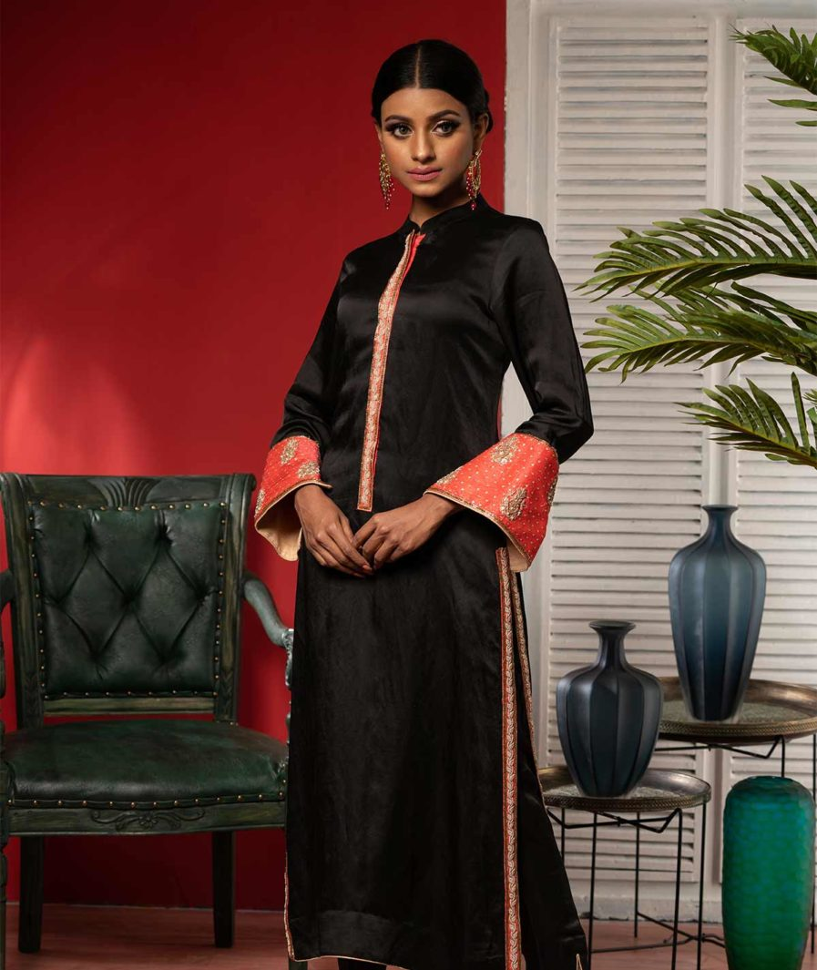 Premium Black zardosi kameez with red contrast