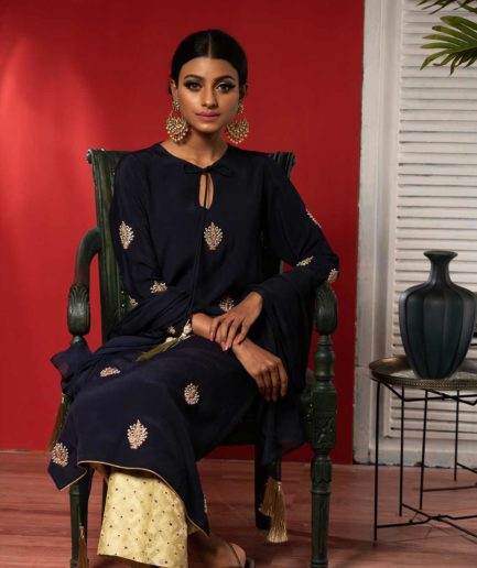 Premium Navy Blue and mint Katan Kameez