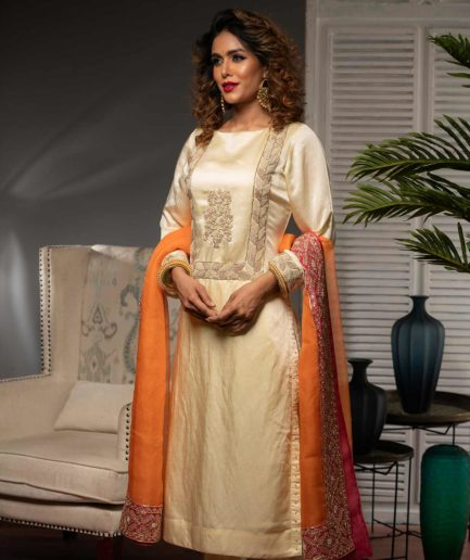 Premium Cream rawsilk kameez with zardosi and orange muslin dupatta with pink zardosi border