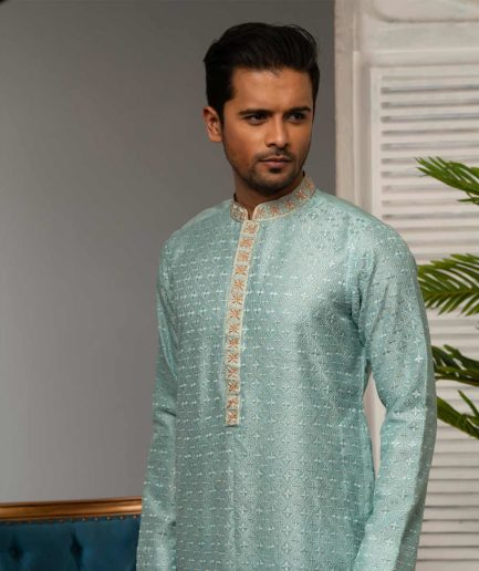 Premium Muslin Panjabi - Light Blue
