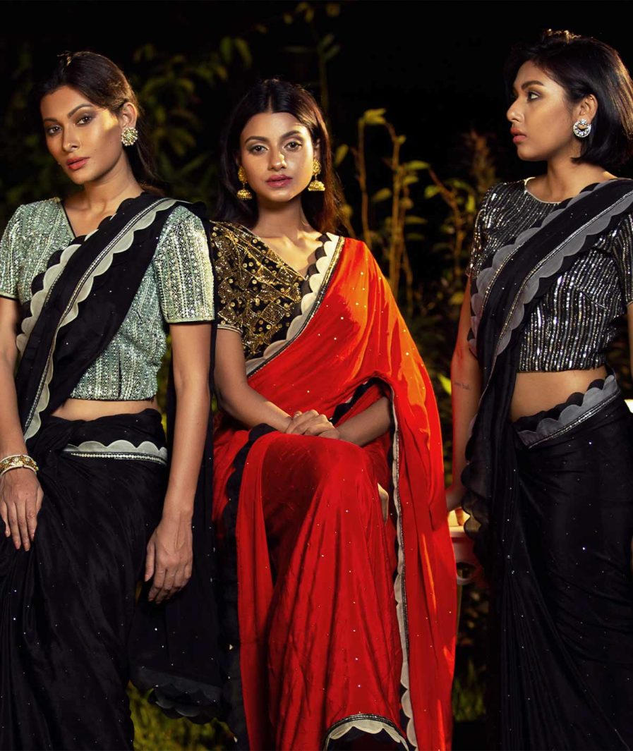 Premium Party Kameez with heavy zardosi blouses - Black and mint, Red and gold, Grey and silver