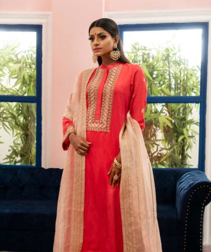 Premium royal orange zardosi kameez with heavy pale pink muslin zardosi dupatta